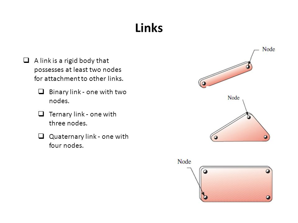Links A link is a rigid body that possesses at least two nodes for attachment to other links. Binary link - one with two nodes.