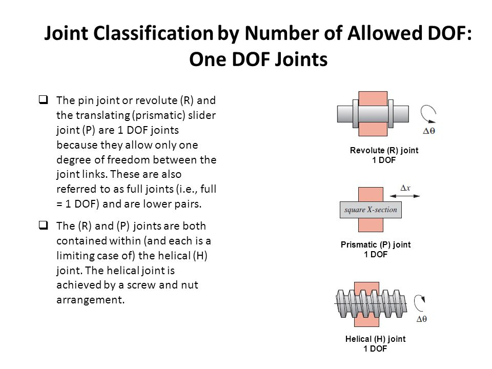 Joint Classification by Number of Allowed DOF: One DOF Joints