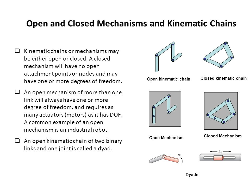 Open and Closed Mechanisms and Kinematic Chains