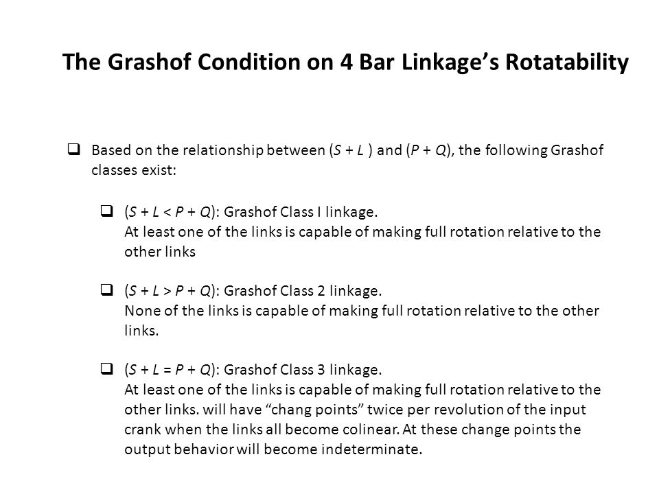 The Grashof Condition on 4 Bar Linkage's Rotatability
