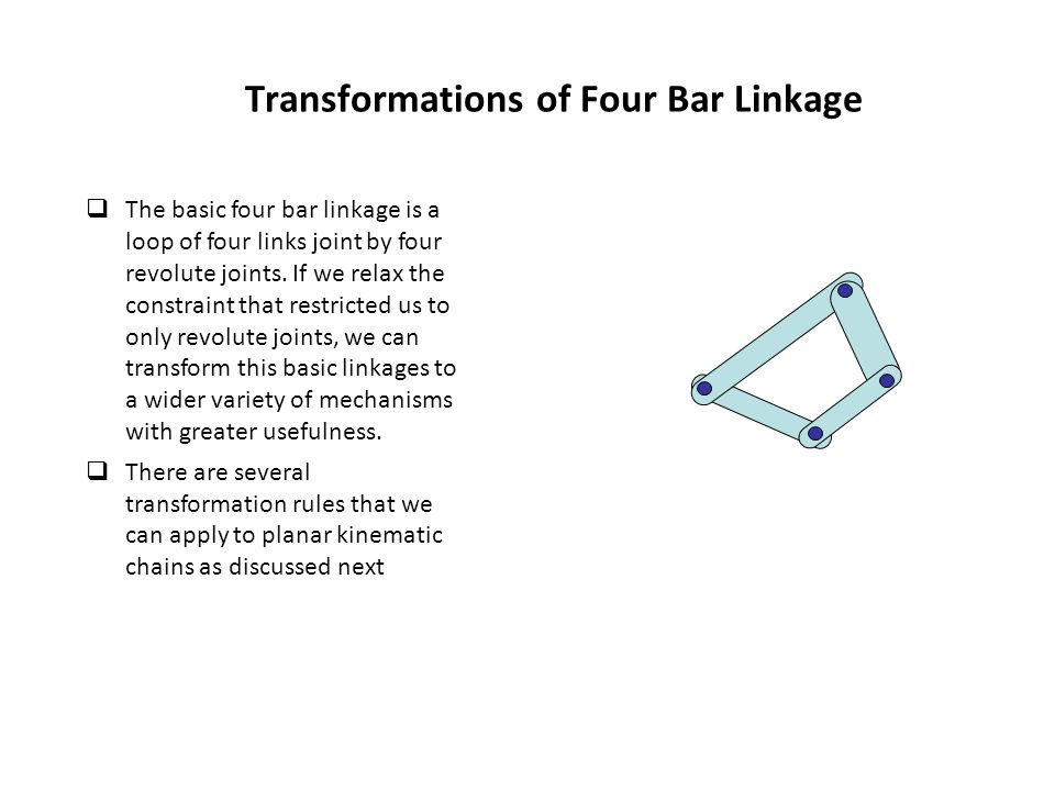 Transformations of Four Bar Linkage