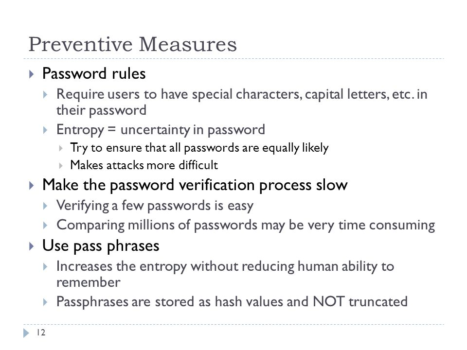 Preventive Measures Password rules