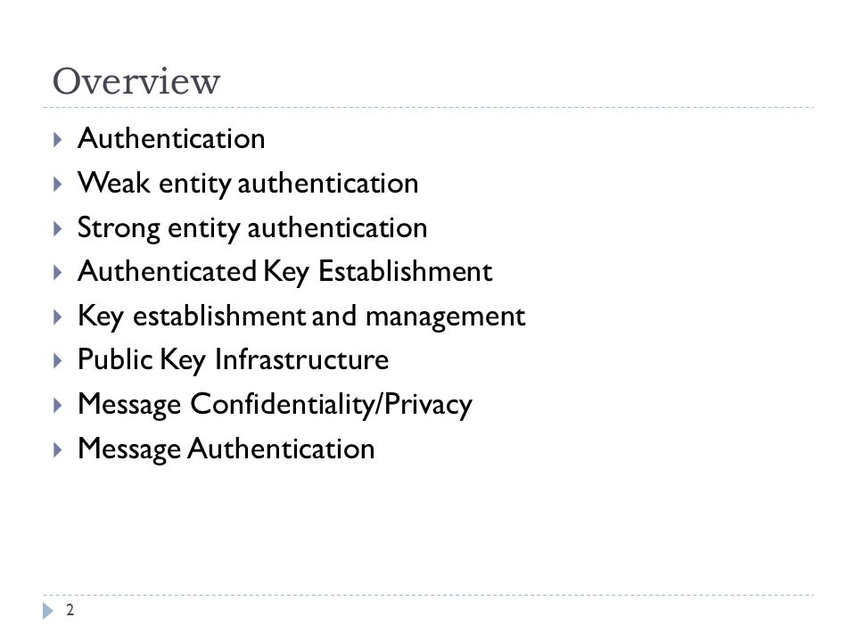 Overview Authentication Weak entity authentication