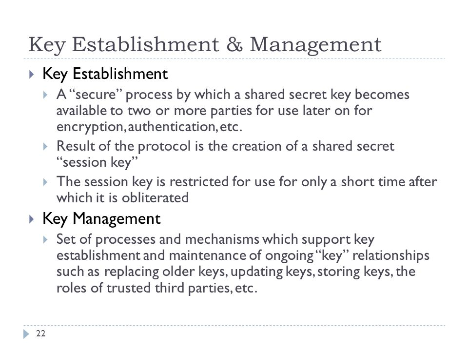 Key Establishment & Management