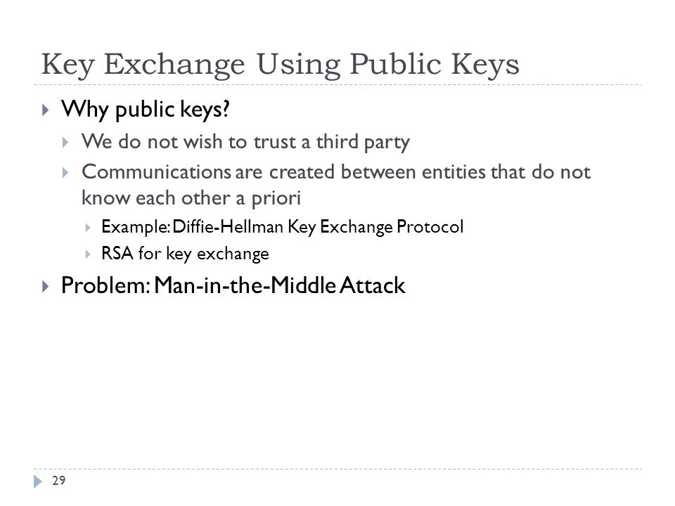 Key Exchange Using Public Keys