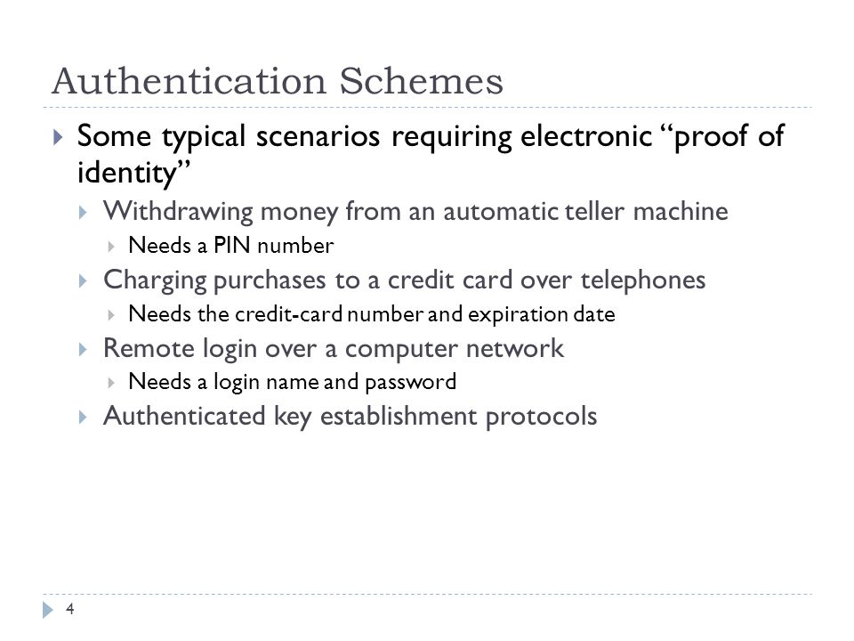 Authentication Schemes