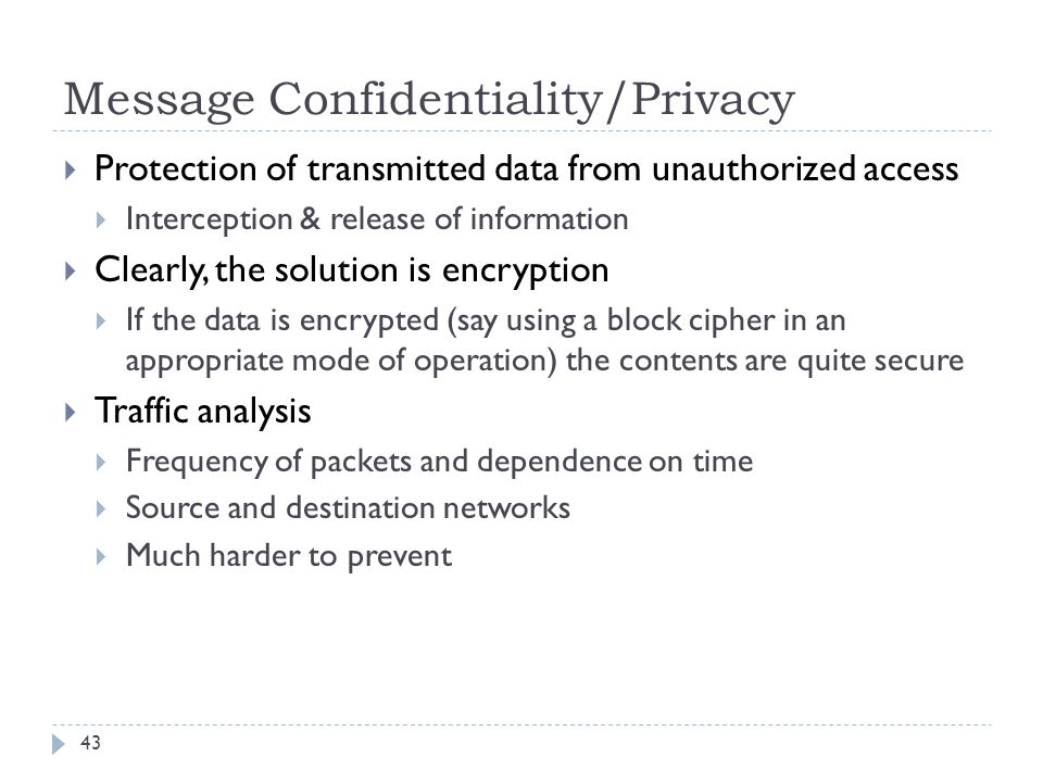 Message Confidentiality/Privacy
