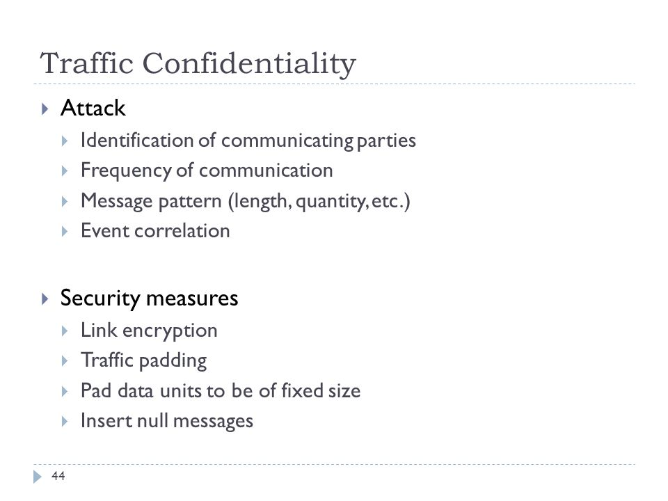 Traffic Confidentiality