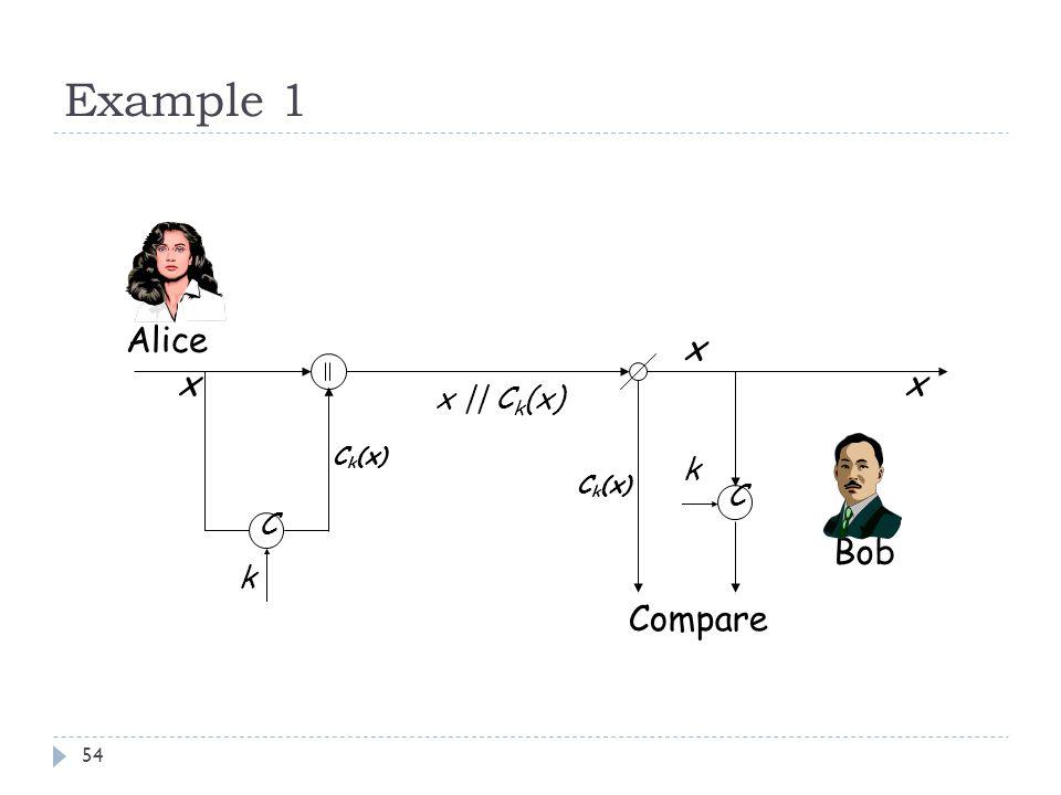 Example 1 Alice x x x x || Ck(x) Ck(x) k Ck(x) C C Bob k Compare