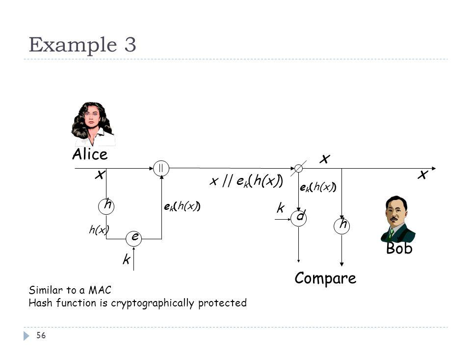 Example 3 Alice x x x Bob Compare x || ek(h(x)) h k d h e k ek(h(x))