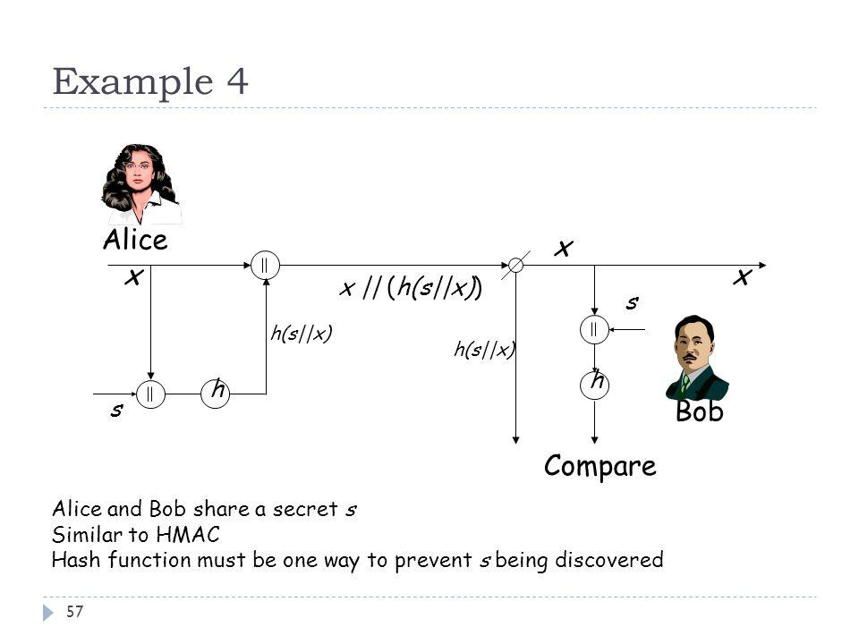 Example 4 Alice x x x Bob Compare x || (h(s||x)) s h h s