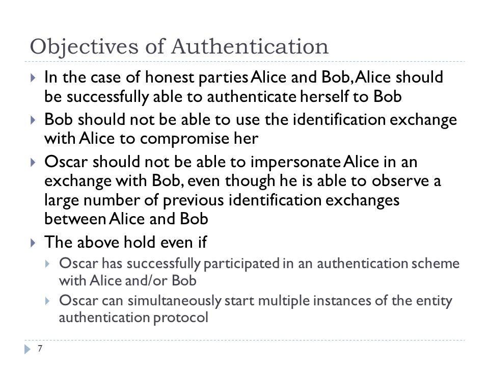Objectives of Authentication