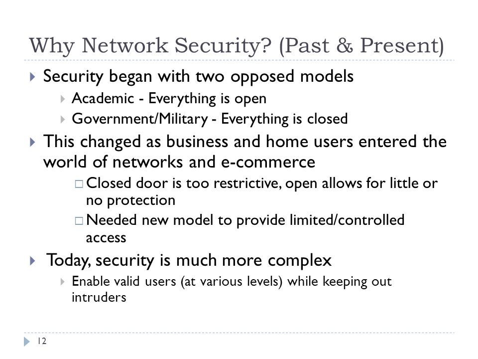 Why Network Security (Past & Present)