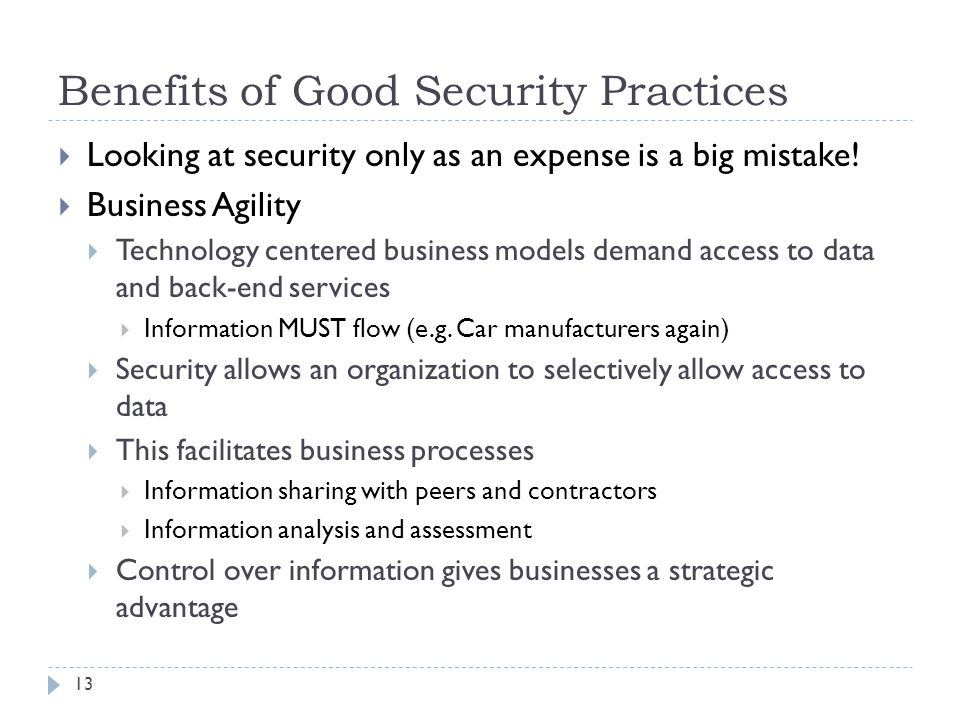 Benefits of Good Security Practices