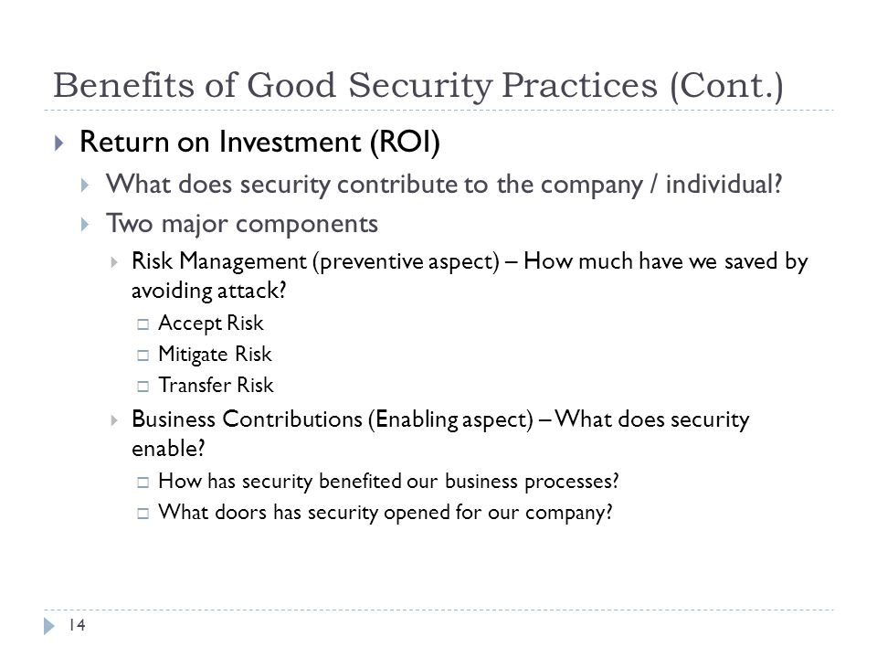 Benefits of Good Security Practices (Cont.)