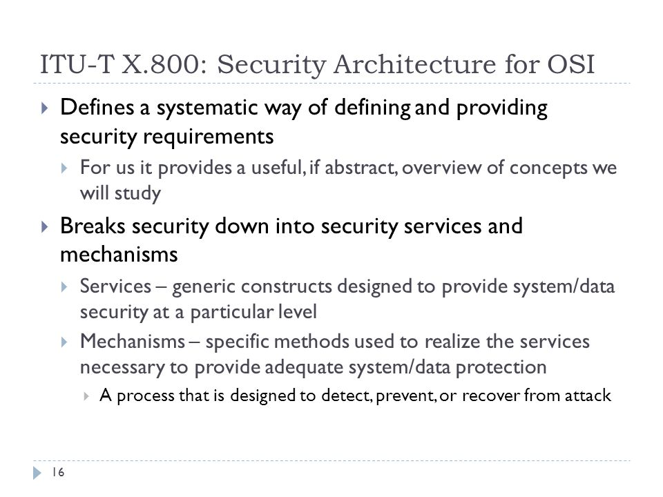 ITU-T X.800: Security Architecture for OSI