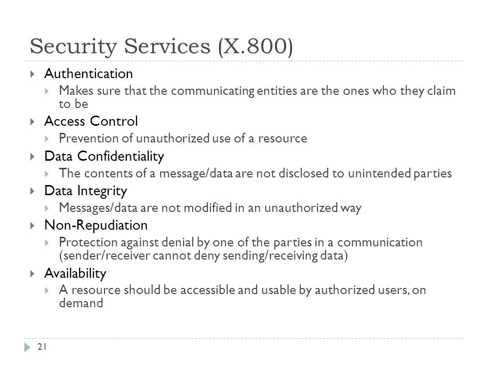 Security Services (X.800) Authentication Access Control