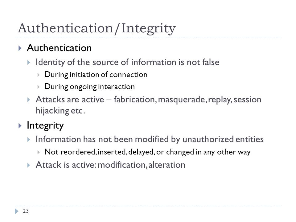 Authentication/Integrity