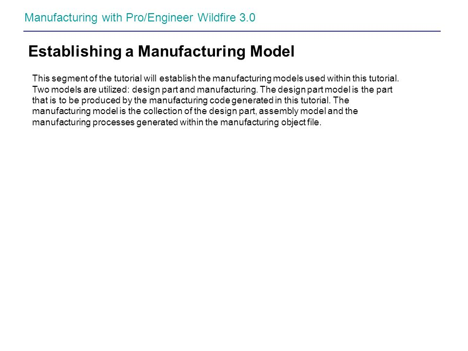 Establishing a Manufacturing Model