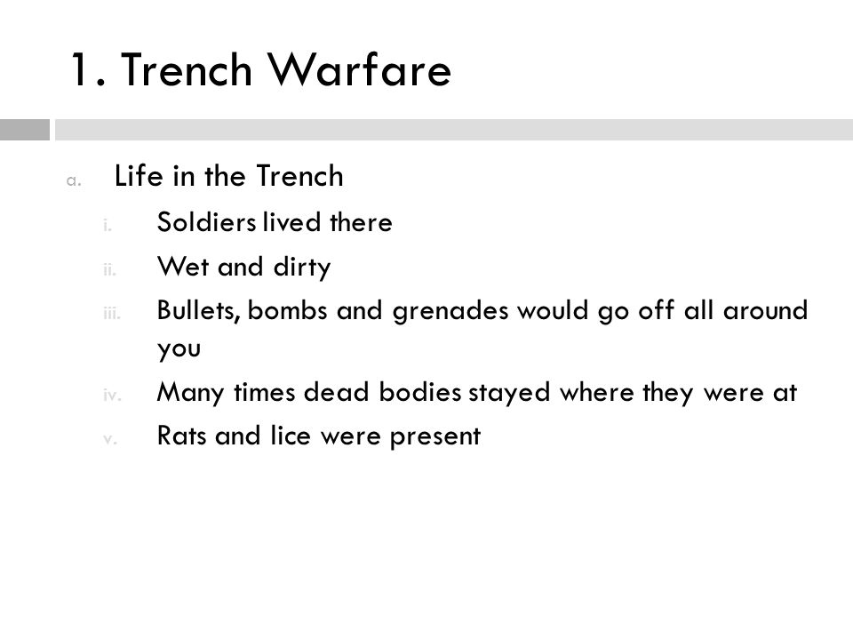 1. Trench Warfare Life in the Trench Soldiers lived there