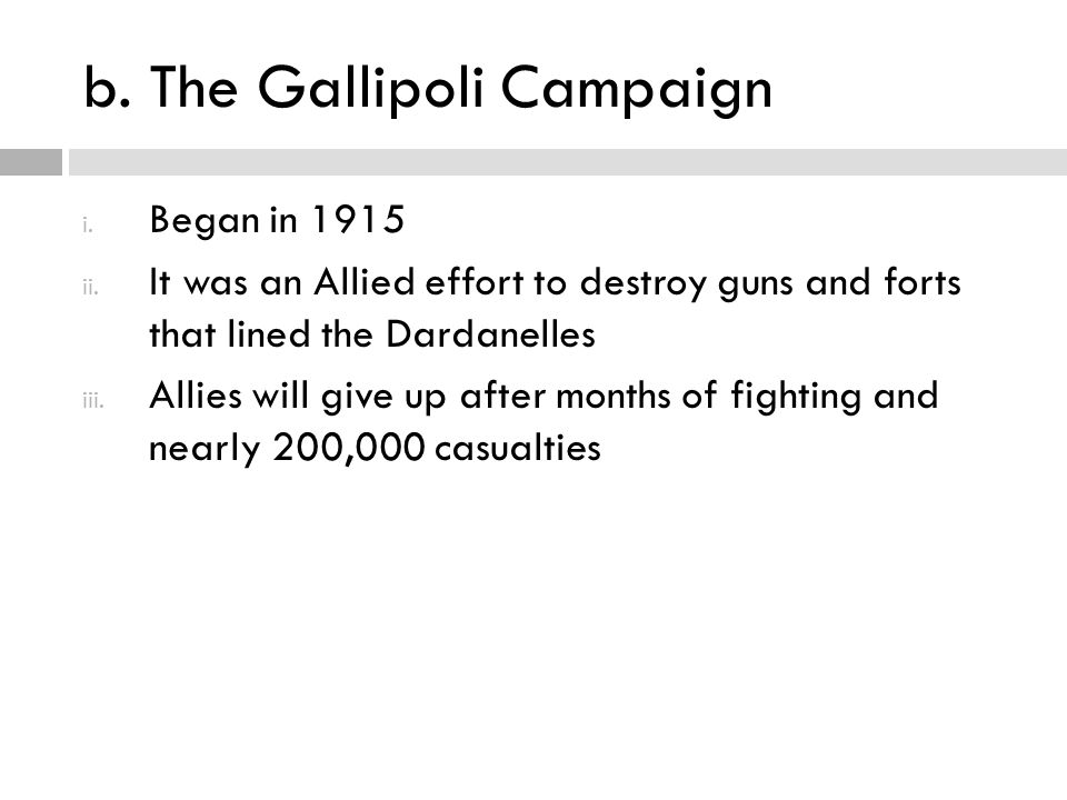 b. The Gallipoli Campaign