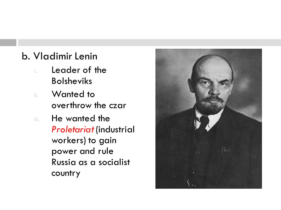 b. Vladimir Lenin Leader of the Bolsheviks