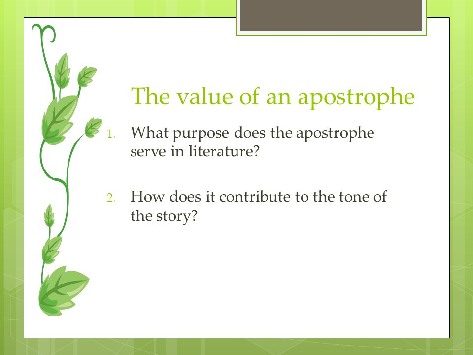 The value of an apostrophe