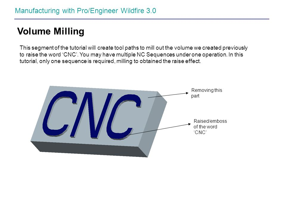 Volume Milling Manufacturing with Pro/Engineer Wildfire 3.0