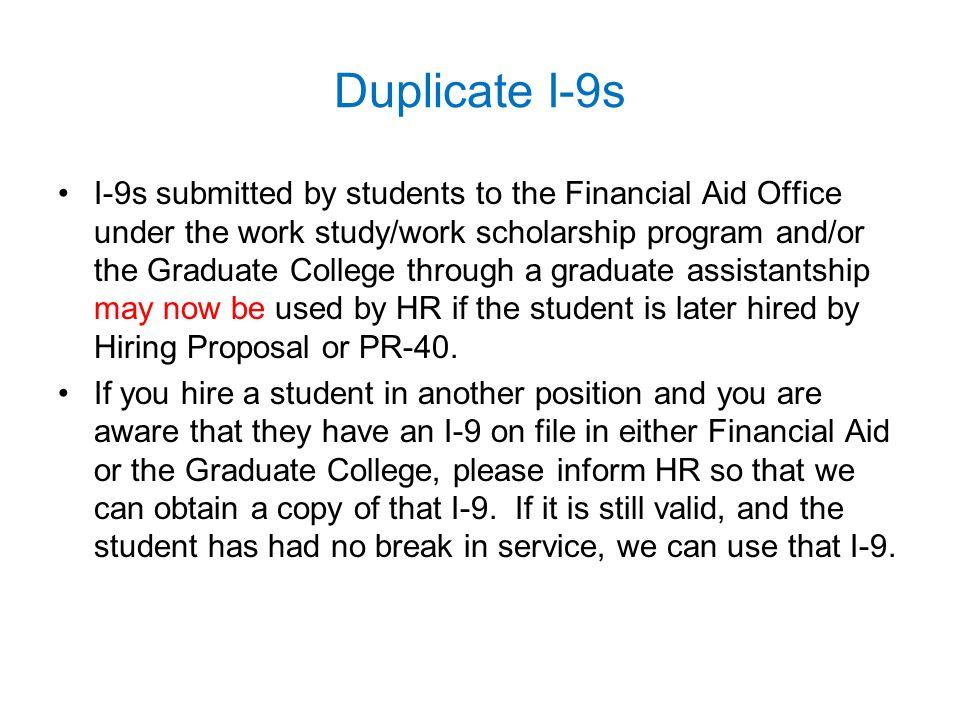 Duplicate I-9s