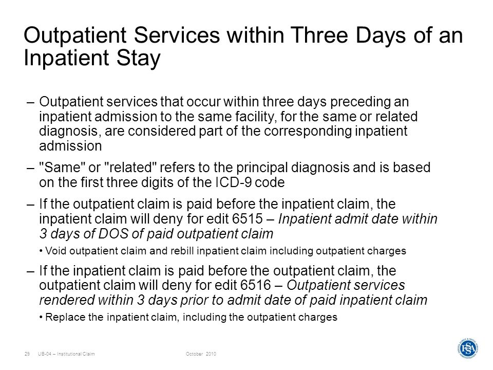 Outpatient Services within Three Days of an Inpatient Stay