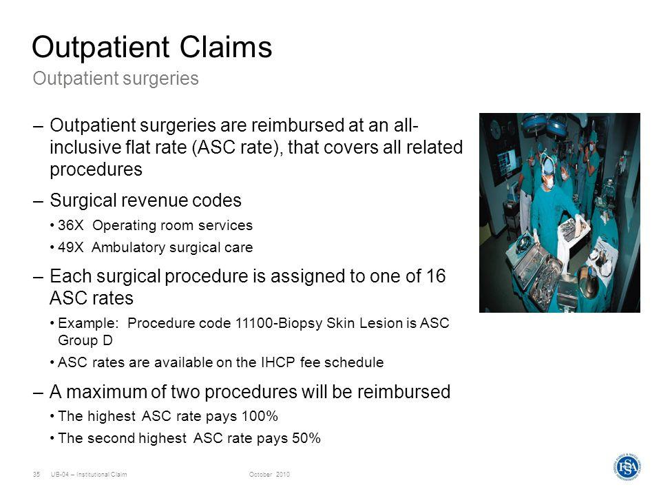 Outpatient Claims Outpatient surgeries