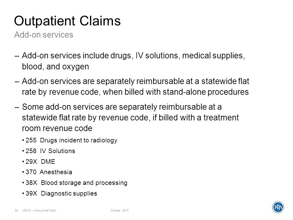 Outpatient Claims Add-on services