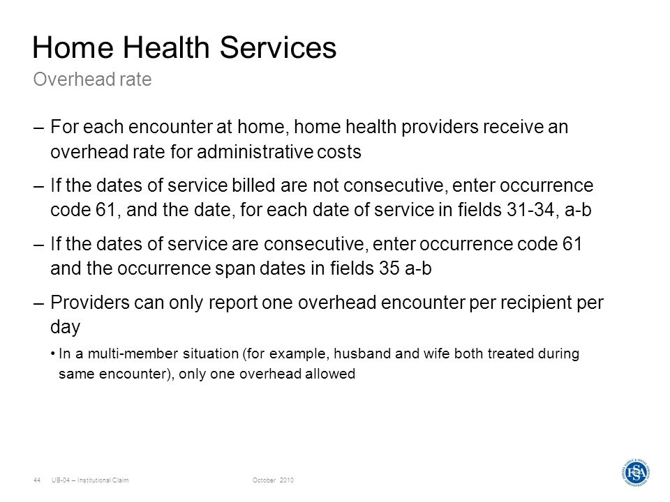 Home Health Services Overhead rate