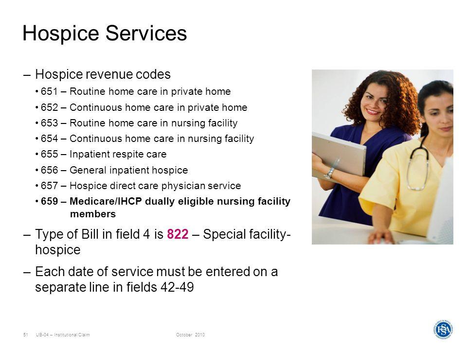 Hospice Services Hospice revenue codes