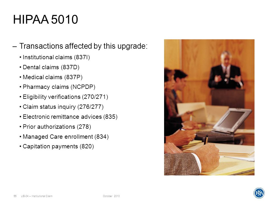 HIPAA 5010 Transactions affected by this upgrade: