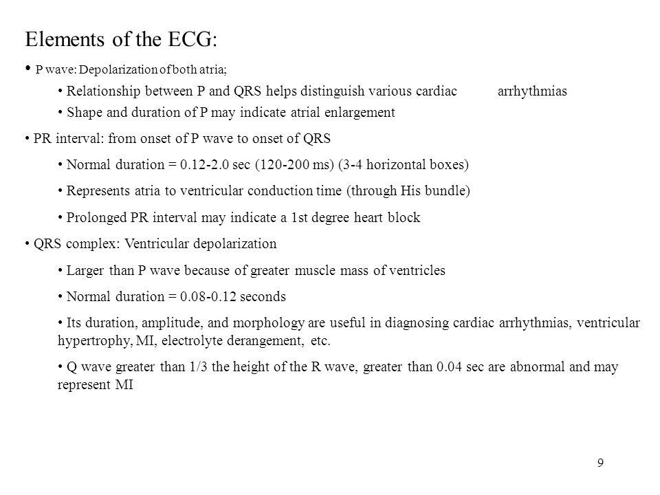 Elements of the ECG: P wave: Depolarization of both atria;