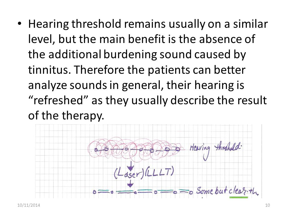 Hearing threshold remains usually on a similar level, but the main benefit is the absence of the additional burdening sound caused by tinnitus. Therefore the patients can better analyze sounds in general, their hearing is refreshed as they usually describe the result of the therapy.