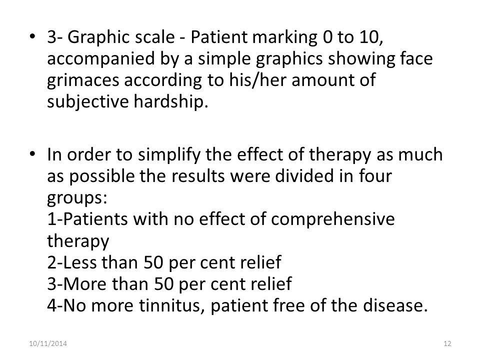 3- Graphic scale - Patient marking 0 to 10, accompanied by a simple graphics showing face grimaces according to his/her amount of subjective hardship.