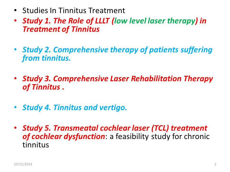Studies In Tinnitus Treatment