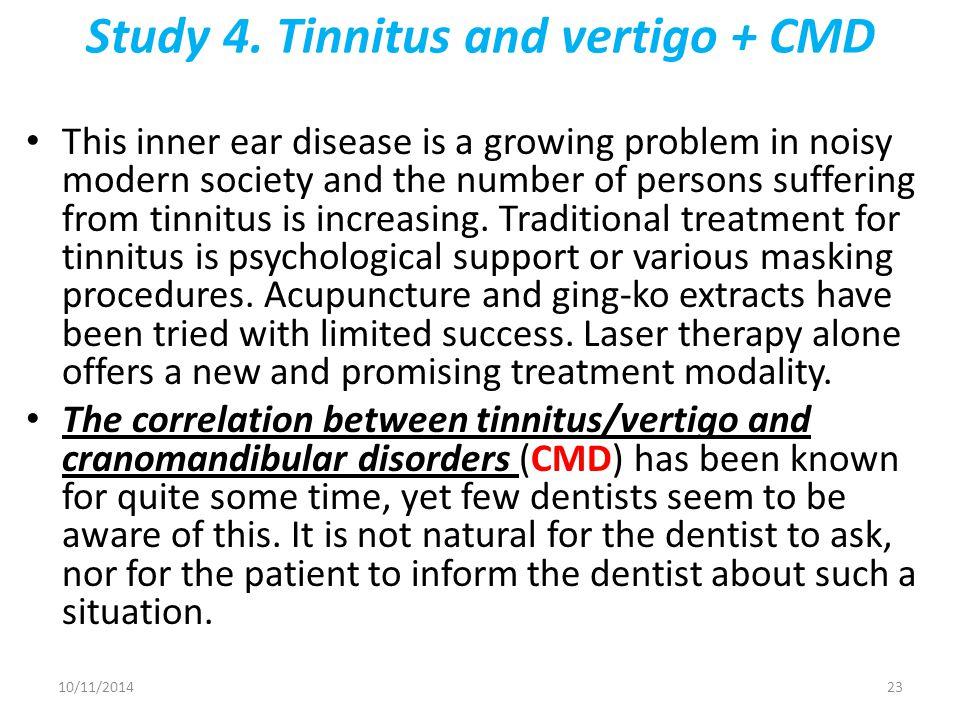 Study 4. Tinnitus and vertigo + CMD