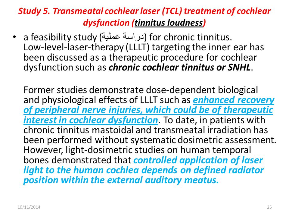 Study 5. Transmeatal cochlear laser (TCL) treatment of cochlear dysfunction (tinnitus loudness)