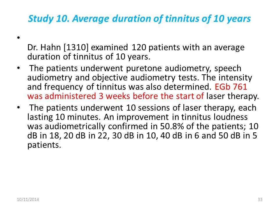 Study 10. Average duration of tinnitus of 10 years