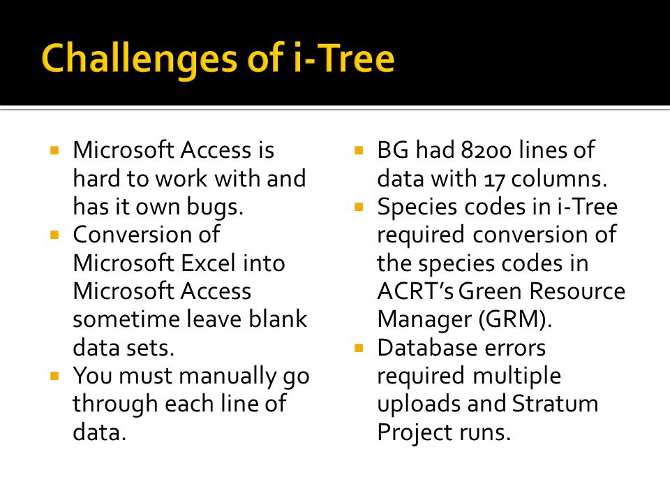 Challenges of i-Tree Microsoft Access is hard to work with and has it own bugs.