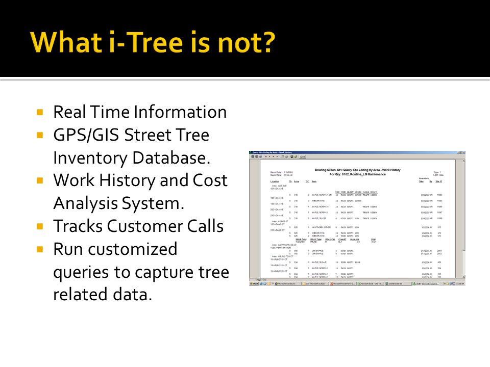 What i-Tree is not Real Time Information