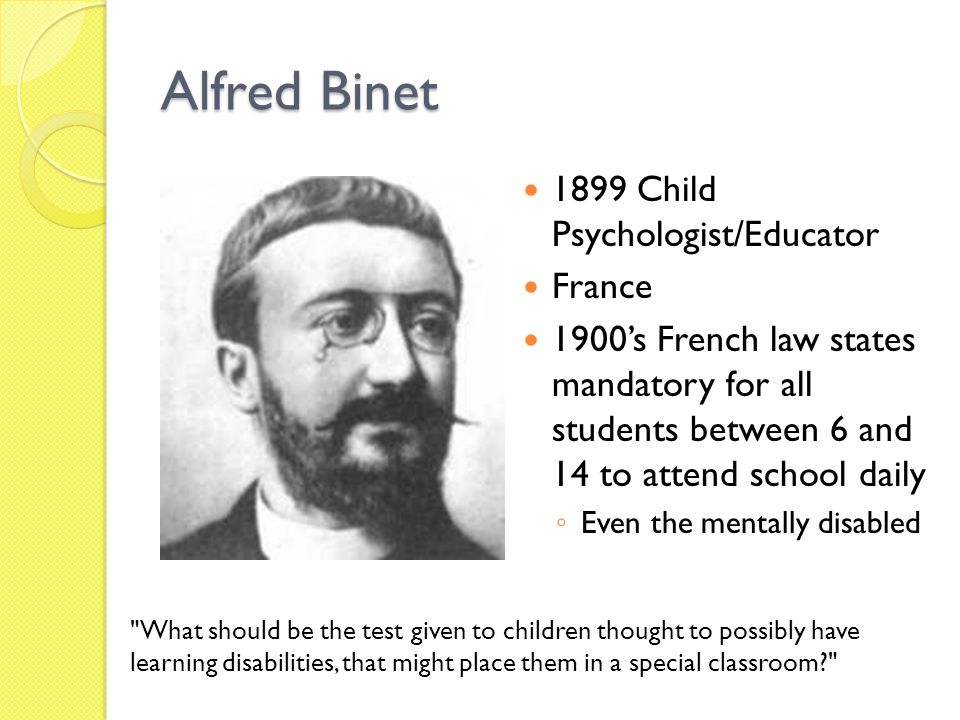 Alfred Binet 1899 Child Psychologist/Educator France