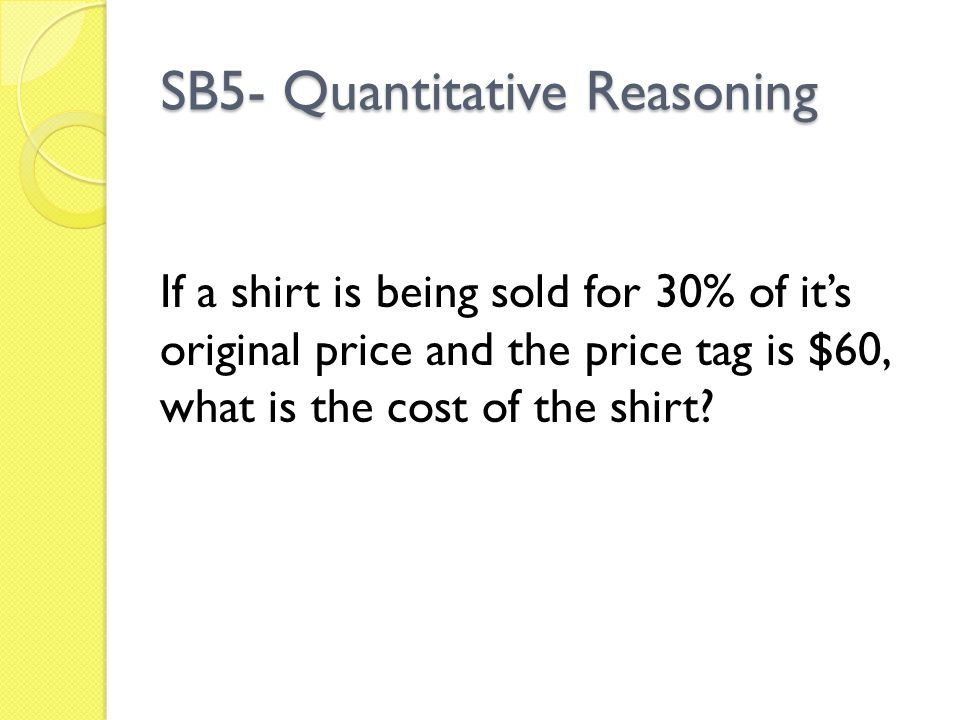 SB5- Quantitative Reasoning