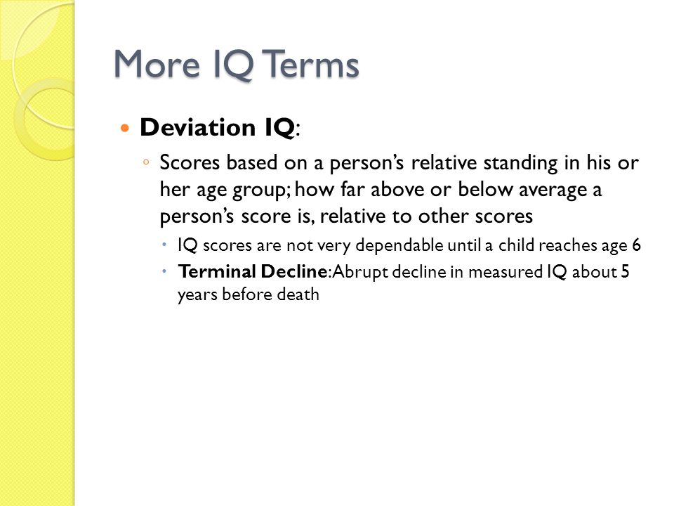 More IQ Terms Deviation IQ: