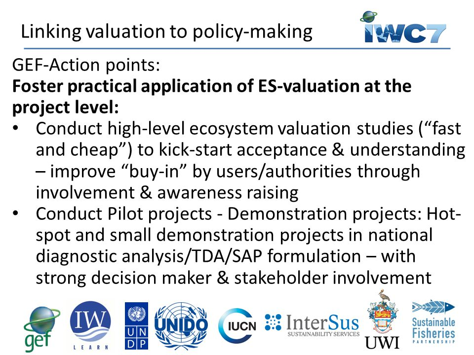 Linking valuation to policy-making