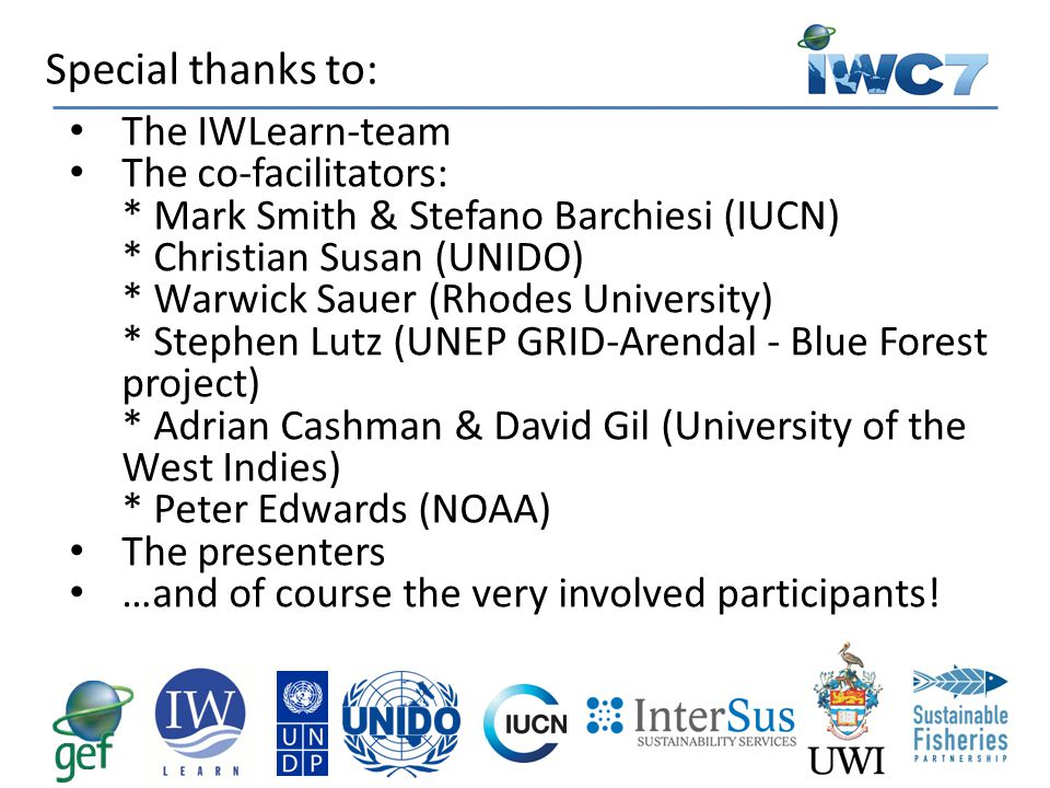 Special thanks to: The IWLearn-team The co-facilitators: