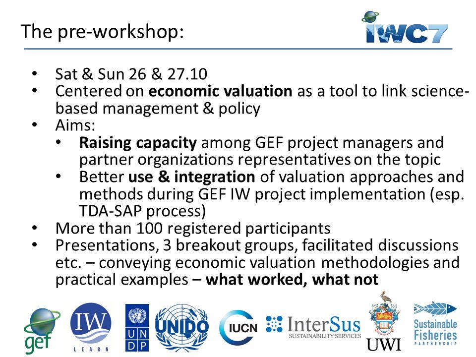 The pre-workshop: Sat & Sun 26 & 27.10